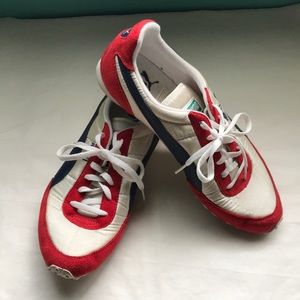 Vintage Puma red, white, & blue sneakers